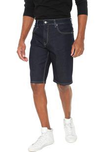 Bermuda Jeans Calvin Klein Jeans Reta Pesponto Azul-Marinho