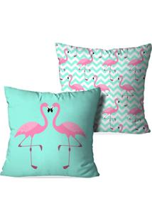 Kit 2 Capas Love Decor Para Almofadas Decorativas Flamingos Love Verde - Kanui