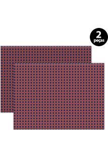 Jogo Americano Mdecore Geométrico 40X28Cm Vermelho 2Pçs
