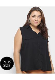 Blusa Regata Heli Plus Size C/ Botões Feminina - Feminino-Preto