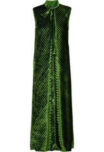 Prada Vestido Midi Chevron De Veludo - Verde
