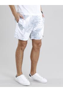 Short Masculino Estampado De Folhagem Branco