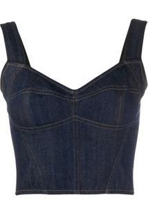 Dolce & Gabbana Blusa Jeans Cropped - Azul