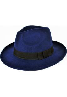 Chapéu Chapelaria Vintage Fedora Azul-Marinho
