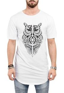 Camiseta Criativa Urbana Long Line Oversized Coruja Tribal Tattoo Corpo Inteiro - Masculino-Branco