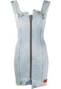 Heron Preston Vestido Jeans Com Detalhe De Zíper - Azul