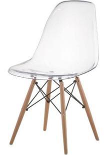 Cadeira Eames Eiffel Policarbonato Incolor Base Madeira - 44179 - Sun House