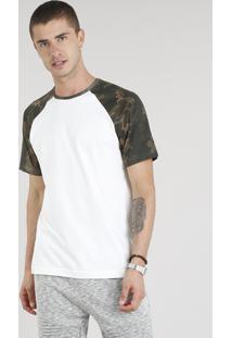 Camiseta Masculina Raglan Com Estampa Camuflada Manga Curta Gola Careca Off White