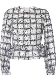 Huishan Zhang Isla Sequined Ruffled-Hem Jacket - Branco