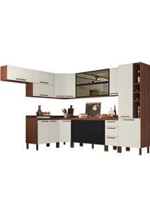 Cozinha Modulada Completa 14 Peças Viv Concept C10 Nogueira/Off White/