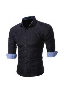 Camisa Masculina Xadrez Manga Longa 7663 - Preta E Vermelha