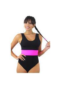 Body Racy Modas Preto Com Faixa Neon Rosa