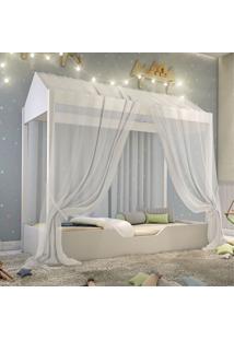Cama Montessoriana Prime Solteiro Com Voal Branco Casah