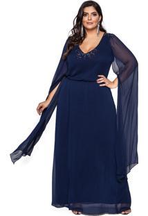 Vestido Almaria Plus Size Pianeta Festa Chiffon Marinho