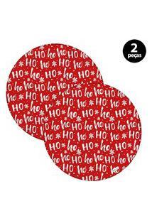 Sousplat Mdecore Natal Ho Ho Ho! 32X32Cm Vermelho 2Pçs