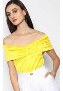 Body Ombro A Ombro Com Franzido - Amarelo - Lança Pelança Perfume