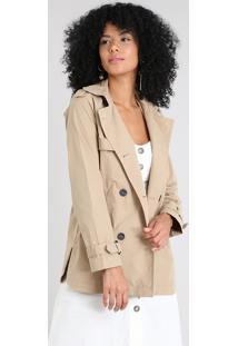 Casaco Trench Coat Feminino Com Capuz Kaki