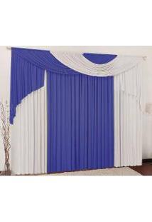 Cortina Súria 4,00M X 2,80M Para Varão Duplo - Azul E Branco
