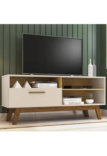 Rack Para Tv Até 55 Polegadas Paládio 1 Porta Off-White/Cinamomo - Móveis Bechara
