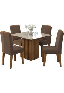 Sala De Jantar Ana 95Cm Com 4 Cadeiras Savana/Off White Chocolate