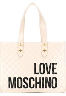 Love Moschino Bolsa Tote Matelassê Com Estampa De Logo - Neutro