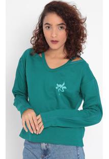 Blusão Em Moletom Com Vazado- Verde & Verde Claro- Mmalwee