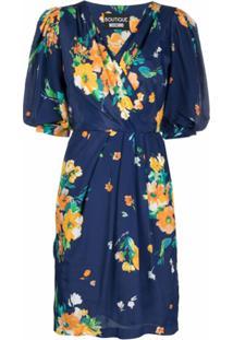 Boutique Moschino Vestido Envelope Com Estampa Floral - Azul