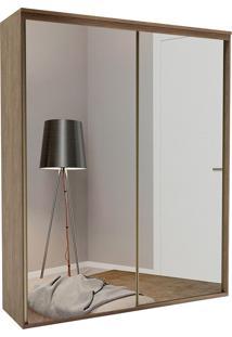 Guarda-Roupa Solteiro 1,79Cm 2 Portas C/ Espelho Luminum Fosco-Belmax - Ebano