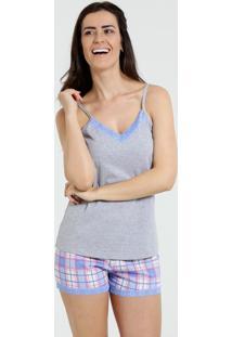 Pijama Short Doll Feminino Xadrez E Renda Marisa