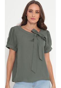 Blusa Lisa Com Amarração- Verde Militar- Ennaenna