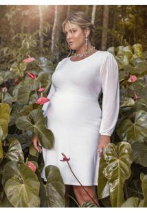 Vestido Clássico Branco Com Transparência