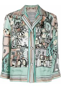 Emilio Pucci Blazer Com Botões E Estampa De Cidade - Verde