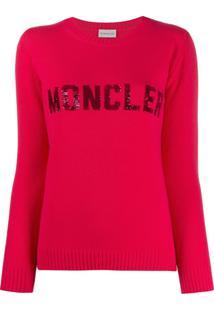 Moncler Suéter Com Logo Em Paetês - Rosa