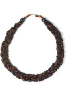Colar Rabo De Gato Curto Trançado Pataxó - Feminino-Marrom