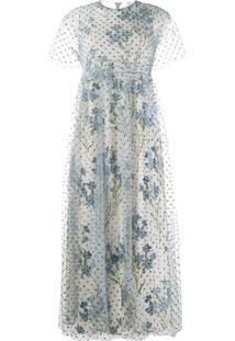 Redvalentino Vestido Floral Com Poás De Glitter - Azul