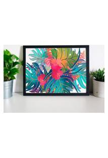 Quadro Decorativo Com Moldura Folhas Coloridas Preto - 20X25Cm