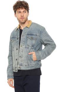 Jaqueta Jeans Tommy Hilfiger Bordada Azul