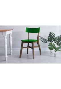 Cadeira Jantar Bella - Castanho E Verde Bandeira 44X51X82 Cm