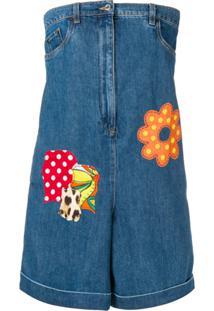 Moschino Macacão Jeans Com Detalhe De Bordado - Azul