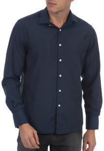Camisa Social Colombo Detalhada Azul Marinho