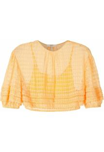 Nk Blusa Cropped Em Renda - Amarelo