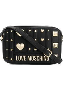 Love Moschino Bolsa Transversal Com Logo Dourado - Preto