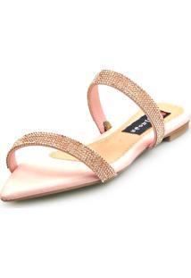 Sandalia Love Shoes Rasteira Bico Folha Strass Delicada Rosê - Tricae