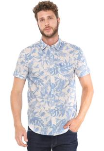 Camisa Red Nose Reta Tropical Branca/Azul
