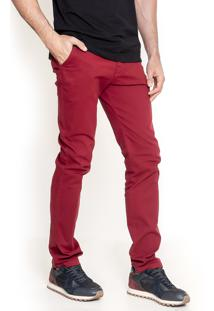 Calça Sarja Lemier Jeans Collection Slim Fit Bordo
