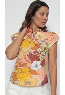 Blusa Floral- Laranja & Amarela- Estilo Hestilo H