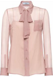 Prada Blusa Com Laço - Rosa