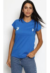 """Camiseta """"3"""" Com Recortes- Azul & Brancaclub Polo Collection"""