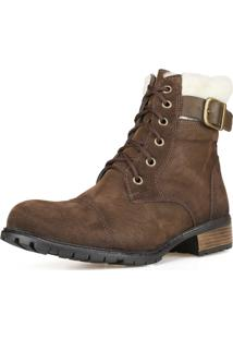 Bota Casual Ankle Boot Cano Curto Dhatz Confortável Inverno Marrom