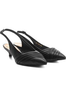 Scarpin Shoestock Salto Baixo Fivela - Feminino-Preto